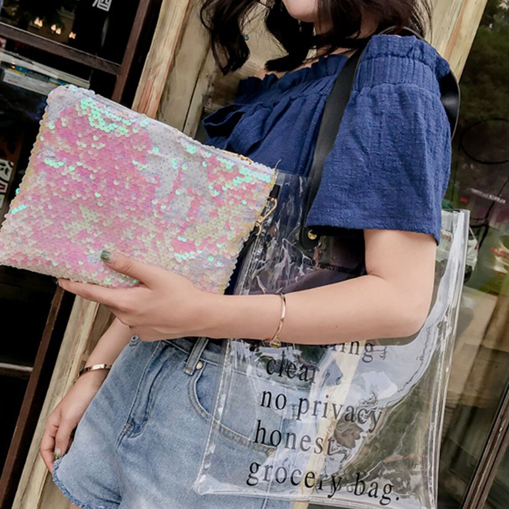 Bolsos de hombro transparentes de moda para mujer, bolsos tejidos para fiesta, bolsos transparentes con láser, moda para mujer, estilo coreano