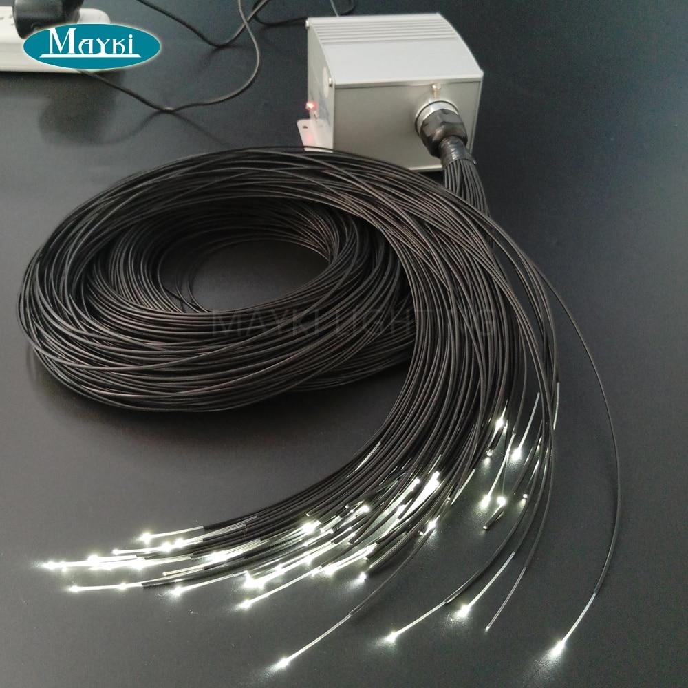 Maykit مليء بالنجوم السماء السقف ساونا LED ستار أضواء مع 5W ، 12V أدى ضوء مصدر 80 قطعة 1.5 مللي متر الأسود PVC غطاء الألياف التحكم عن بعد