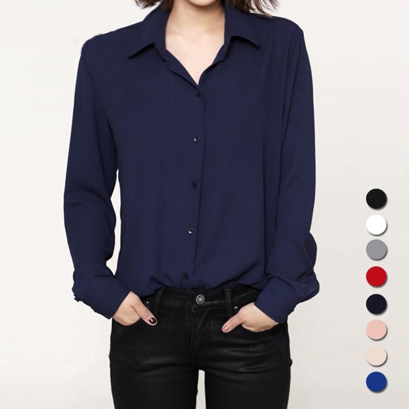 Moda 2018 mujeres casual tops de manga larga de gasa camisa blusa Simple primavera otoño mujeres más tamaño chemise femme