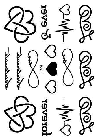 Rocooart SC974 Taty Sketch Black White Sweet Hearts Water Transfer Temporary Tattoo Stickers Fake Tattoo Tatuagem For Women Men