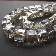 (20 pièces/lot) perles de cristal de verre Cube 10mm perles en vrac pour la fabrication de bijoux couleur grise