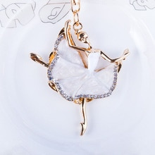 Mode ballerine cristal porte-clés bibelot strass voiture porte-clés breloque pour sac femmes porte-clés filles clés voitures accessoires O1035