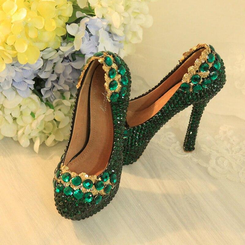 Verde de las mujeres, zapatos de boda, zapatos de tacón alto 12cm plataforma bombas diamante bombas Sexy zapatos de novia para mujeres lentejuelas calzado de gran tamaño 43