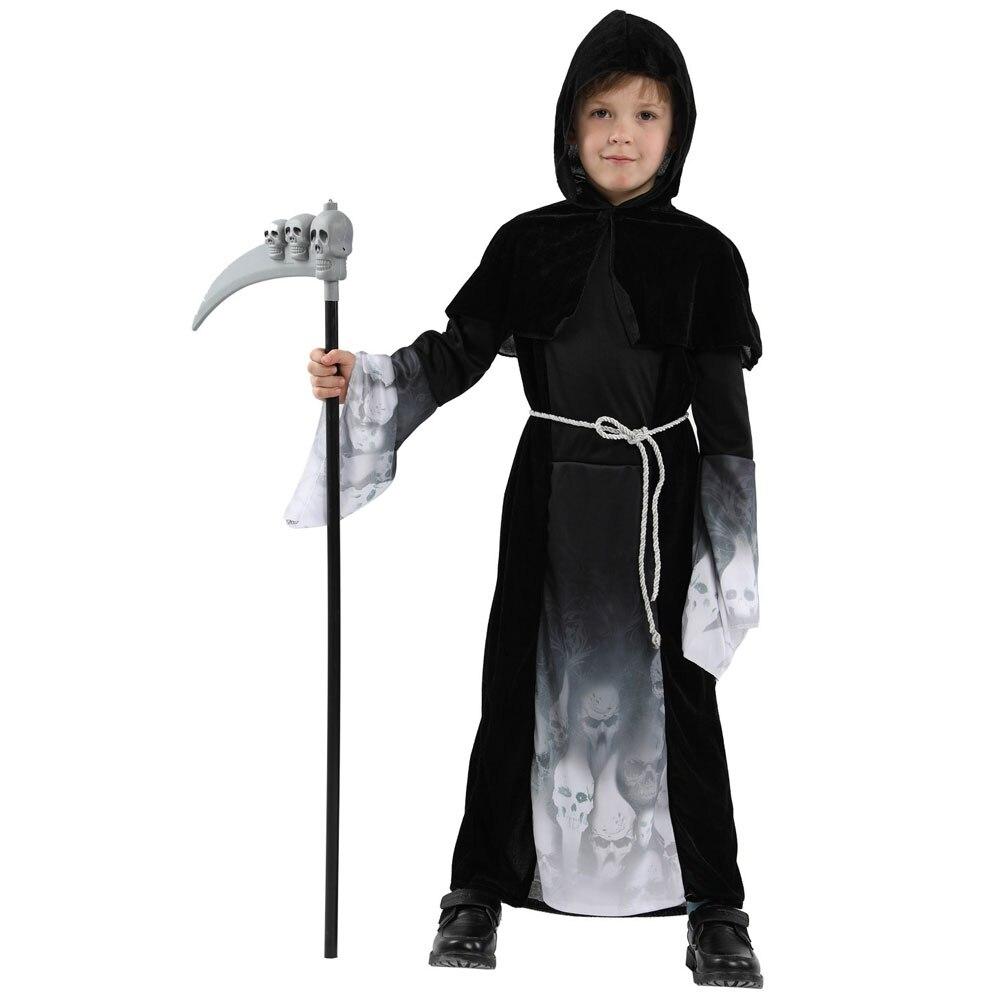 Disfraz de las almas abandonadas de los niños disfraz de segador Grim tenebroso para niños Halloween Purim Carnival Party Mardi Gras Fancy Dress