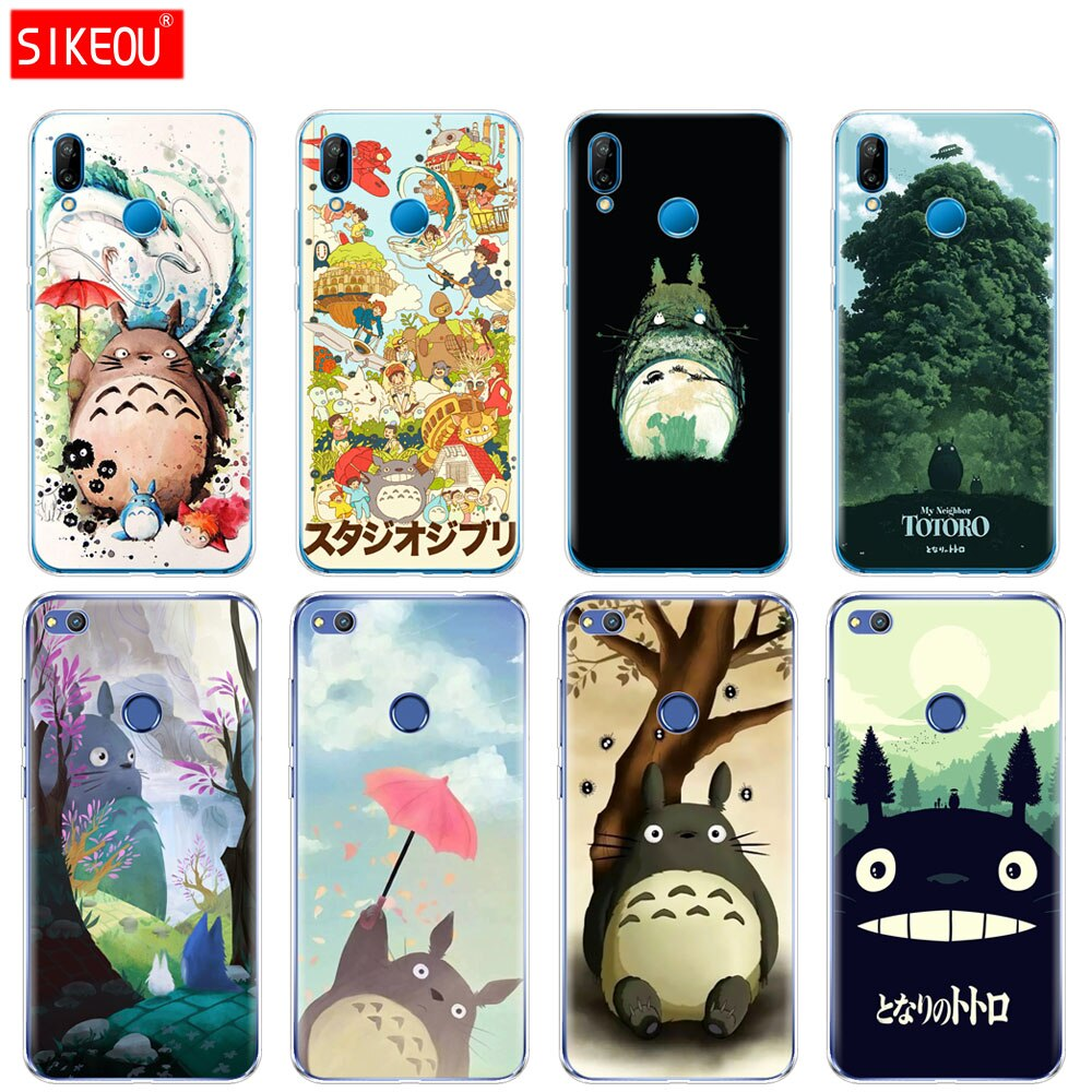 Funda de silicona para Huawei P20, P7, P8, P9, P10 Lite Plus, Pro 2017 P, Smart 2018, carcasa con diseño de Anime de My vecino Totoro