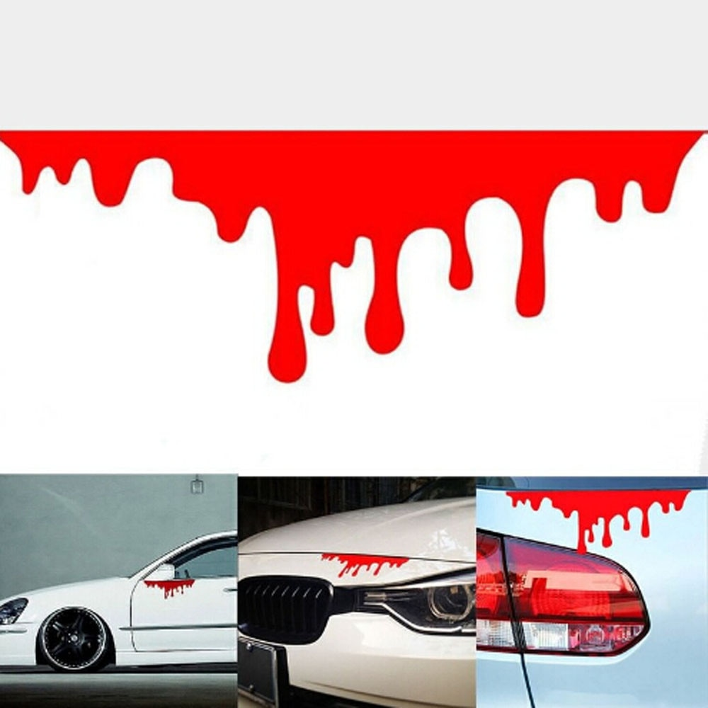 Adhesivos reflectantes de coche CARPRIE Red Blood, calcomanías ligeras para parachoques, pegatina para el cuerpo, pegatina para conducir, pegatina para coche, 14cm * 5cm #0623