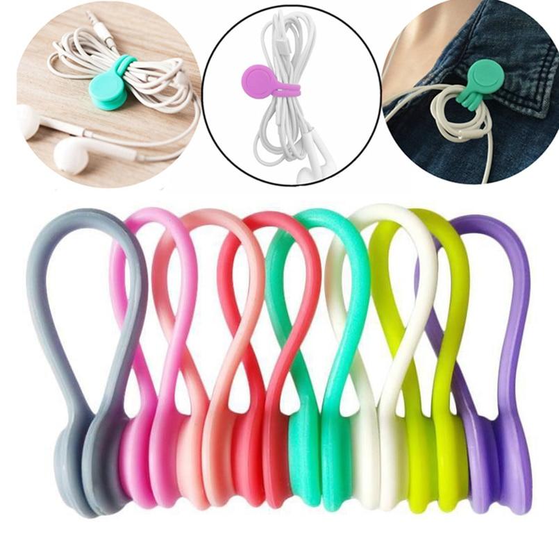 3 unids/pack enrollador Cable auriculares Cable Clips organizadores Multi función duradero auriculares...
