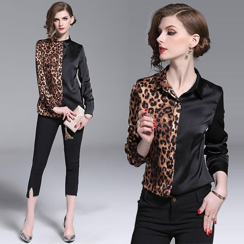 Primavera nuevos tops 2019 moda solapa de manga larga blusas camisas leopardo patchwork blusa mujer Oficina talla grande 3xl bluzki damski