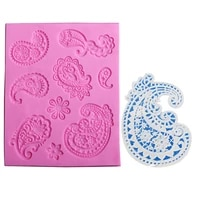 diy relief liquid state cake baking mold sugar lace pattern decorate silicone mold retro baking