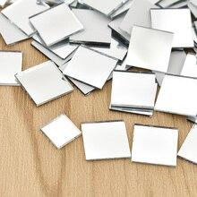 Mini miroirs carrés en verre 100 pièces/paquet   Carreaux de mosaïque, en vrac, décoration artisanale faite à la main, fournitures dart, matériaux