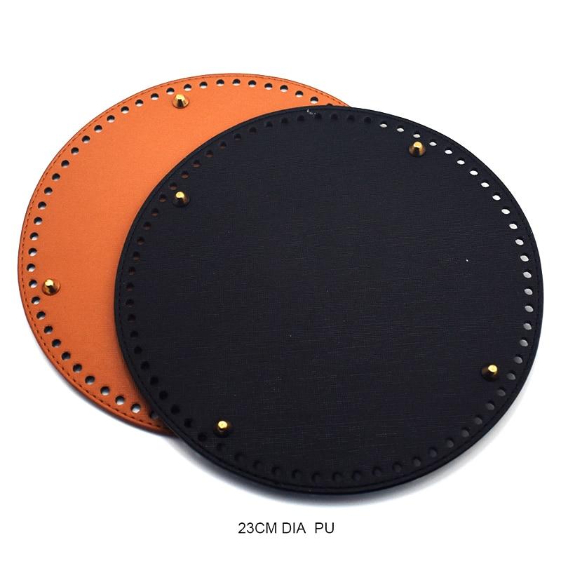 23*23 cm Saco Saco de Fundo Redondo de Couro Bottoms Mulheres DIY Retro Brown Substituição para Sacos de Balde Bolsa Saco acessórios KZBT026