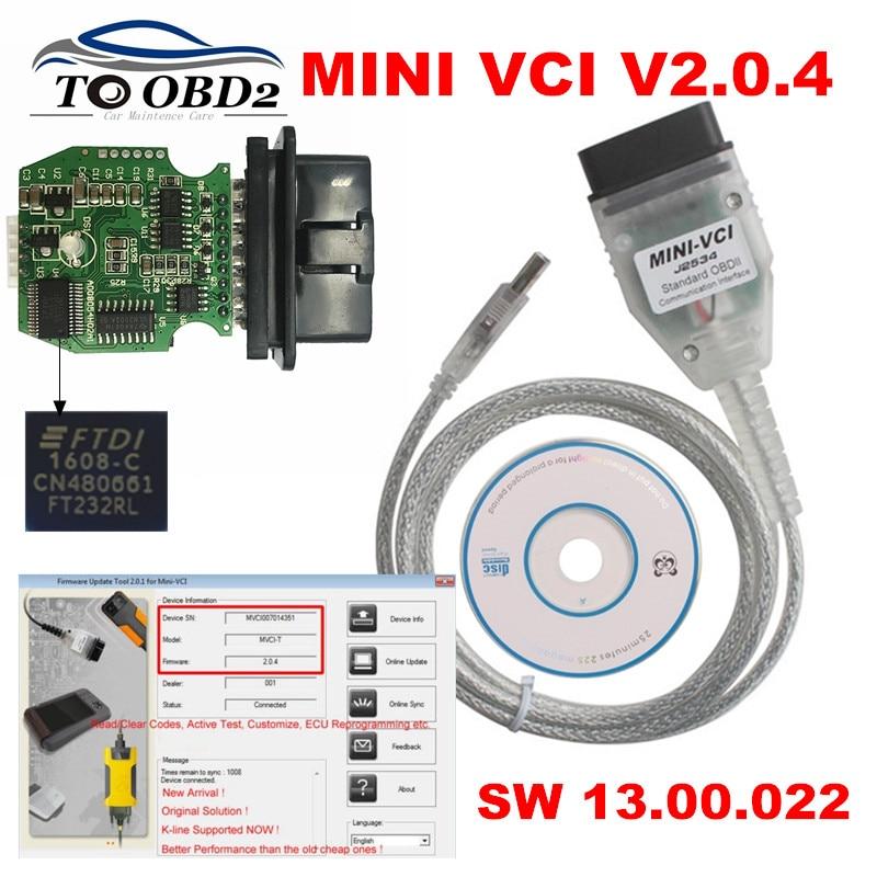 Newest V14.20.019 FT232RL Real V2.0.4 Firmware MINI VCI j2535 Support VPW Protocol MINI-VCI V2.0.4 Stable For Toyota Techstream