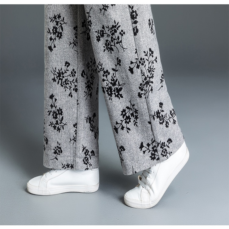 Shuchan Sweatpants Print Woolen Blend Warmed Women's Pants Drawstring High Waist Trousers For Women's Winter Fashion 2018 gray