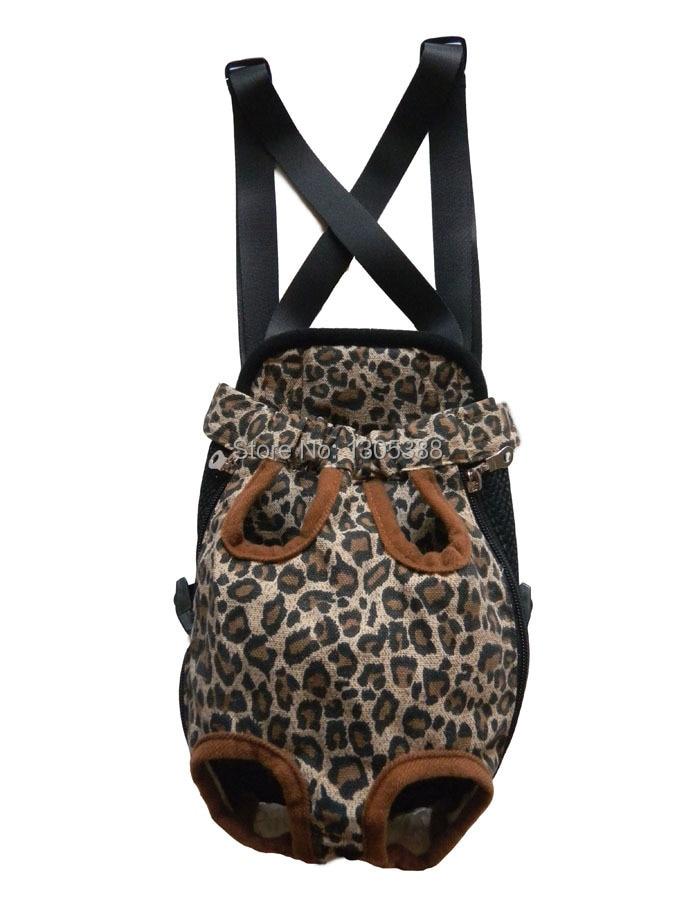Bolso de lona de leopardo para mascotas, portador de perro, mochila de pecho frontal, cinco agujeros para perro la compañía