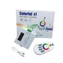 DC5-24V WS2811//WS2812B 6803 fita de LED digitale colorido x1 LED musica controlador com RF remote touch Max 600 pixels