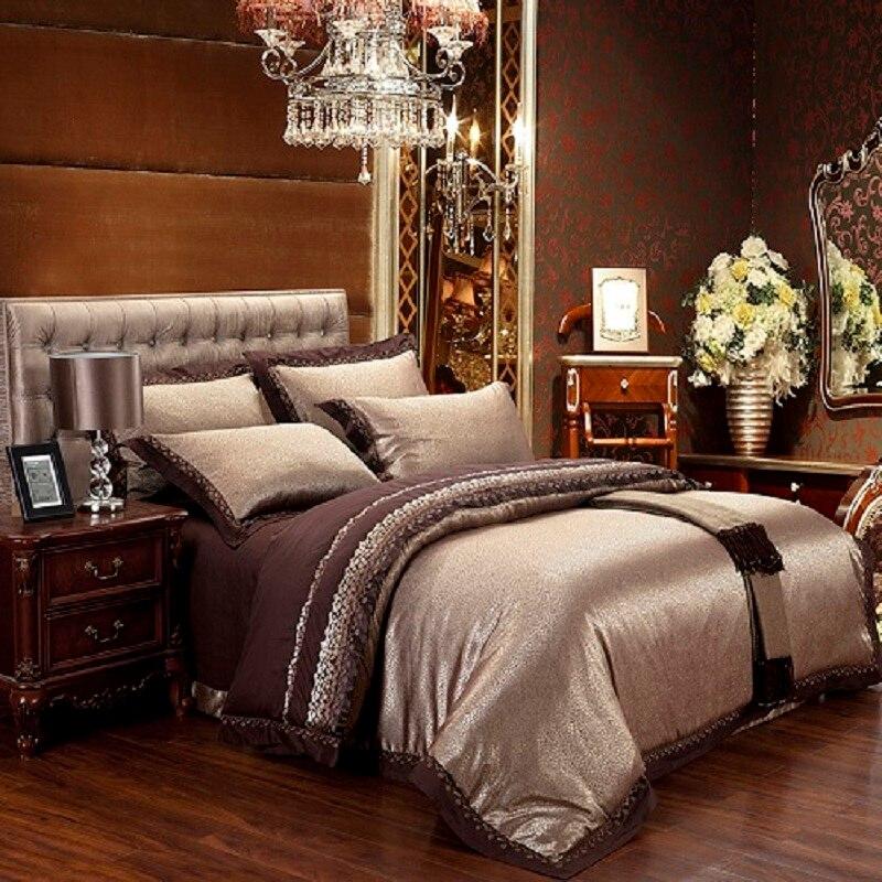 Coffee blue luxury silk jacquard cotton bedding sets/bedclothes queen king size 4/6 pcs duvet cover bed linen sheet set pillow