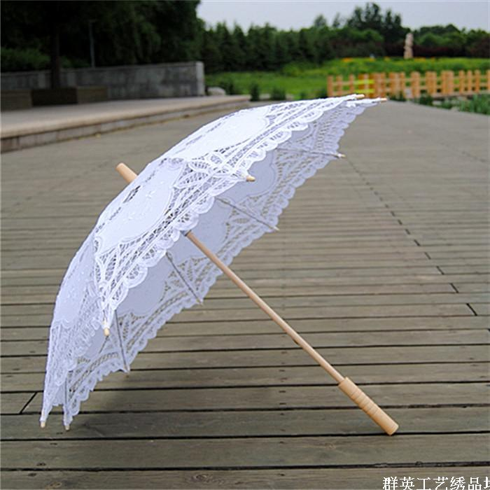 Paraguas de mango de madera Parasol de boda de Battenburg en 5 colores blanco negro, encaje de color marfil, sombrilla de algodón para boda