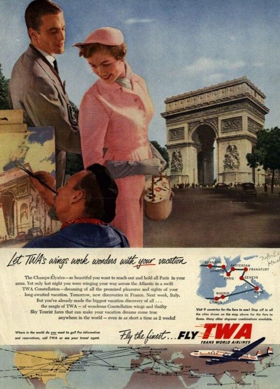 Vintage Fly TWA World Travel publicidad Retro Poster lienzo pintura DIY adornos de pared de papel decoración del hogar regalo