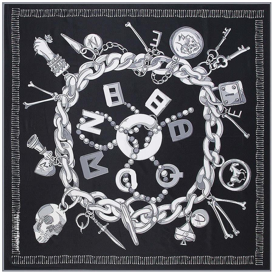 Twill Silk Scarf Women Luxury Spain Chain Skull Print Square Scarves Shawls Wraps Brand Hijab Foulard Bandana Big Neckerchief