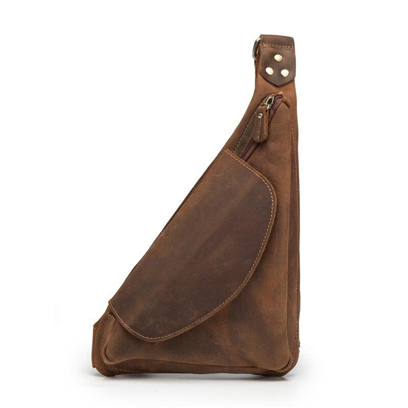 Men's Sling Chest Bag Fanny Waist Pack Mini Travel Back Packs Male Triangle Business Cross Body Handbag Vintage Purse Messenger