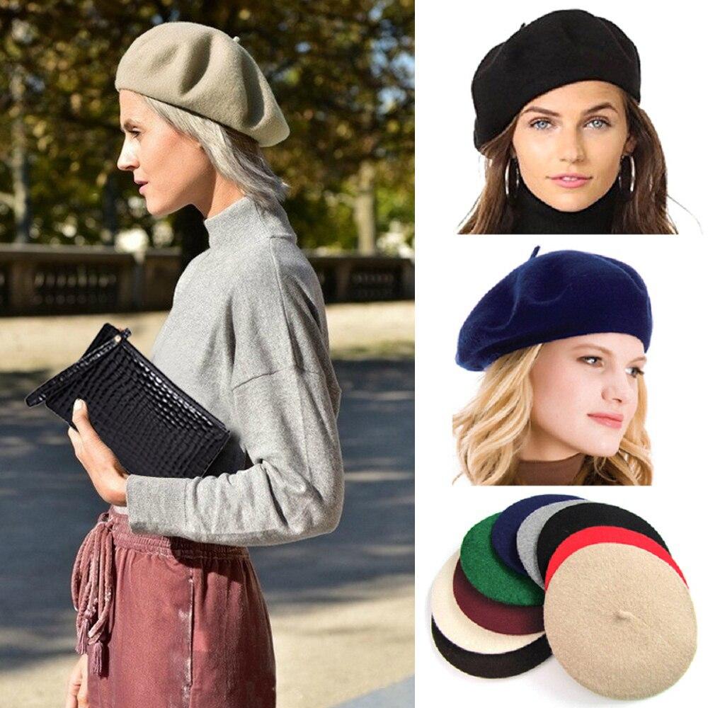 Элегантная Женская шерстяная фетровая теплая Женская шляпка, французский классический берет, шапка-бандаж, русская Кепка Tam