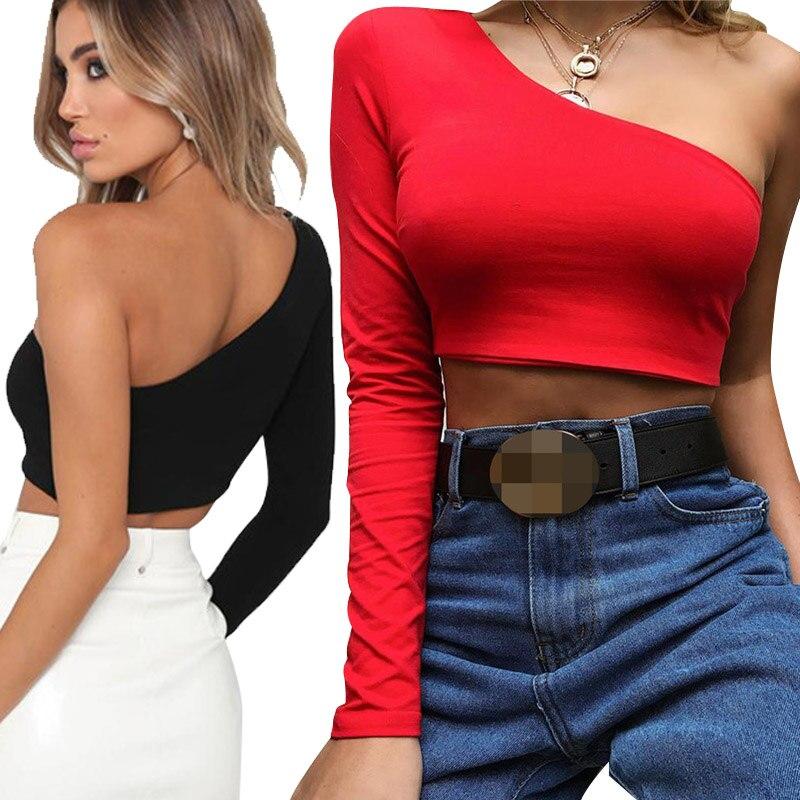 Una camiseta del cuello de la pendiente del hombro camiseta atractiva sólida de manga larga de las mujeres blanco negro cosecha Top señoras camiseta 2019 nueva moda