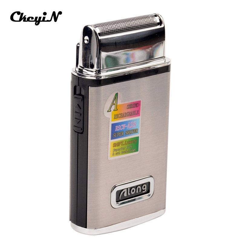 Afeitadora eléctrica reciprocante recargable de acero inoxidable, afeitadora, Mini cortadora eléctrica de bigote con recortadora emergente 31