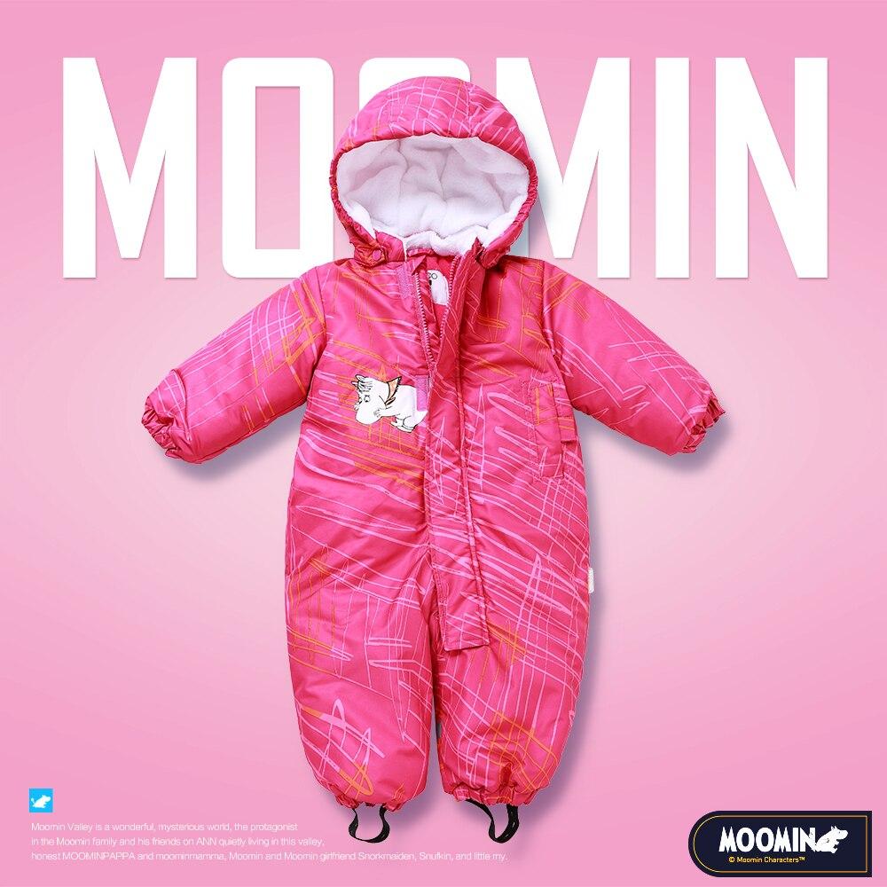 Moomin 2018 recién llegado bebé rosa invierno mameluco impermeable niñas dibujos animados cremallera con capucha de manga larga caliente niños mameluco
