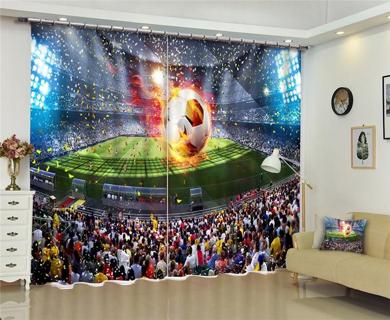 Cortina 3D de la Copa del Mundo de fútbol cortinas opacas para dormitorio para sala de estar decoración del hogar niños niñas casa
