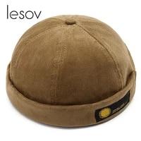 lesov vintage dome hat mens warm velvet beanies for men retro crimping brimless skull caps autumn casual hip hop cap gorro