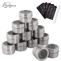 lmetjma magnetic spice jars set with spice labels and chalkboard pen stainless steel seasoning pepper spice storage jars tins