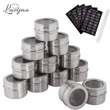 LMETJMA ensemble de pots à épices magnétiques   Avec étiquettes dépices et stylo à chalouches, bocaux en acier inoxydable pour assaisonnement, poivron et stockage dépices, boîtes