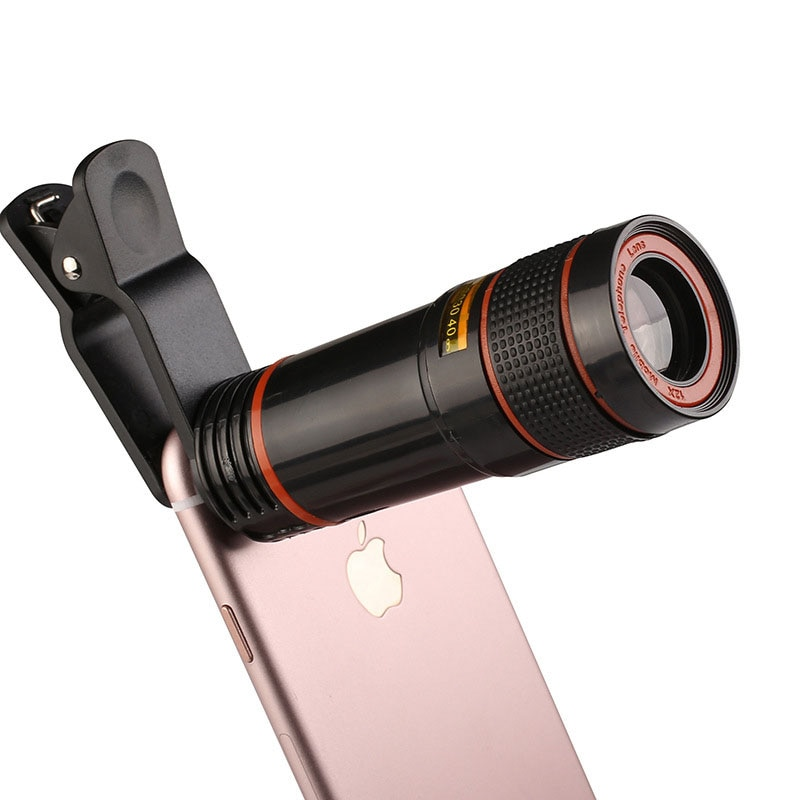 Dropshipping Handy Kamera Objektiv 12X Zoom Teleobjektiv Externe Teleskop Mit Universal Clip für Smartphone