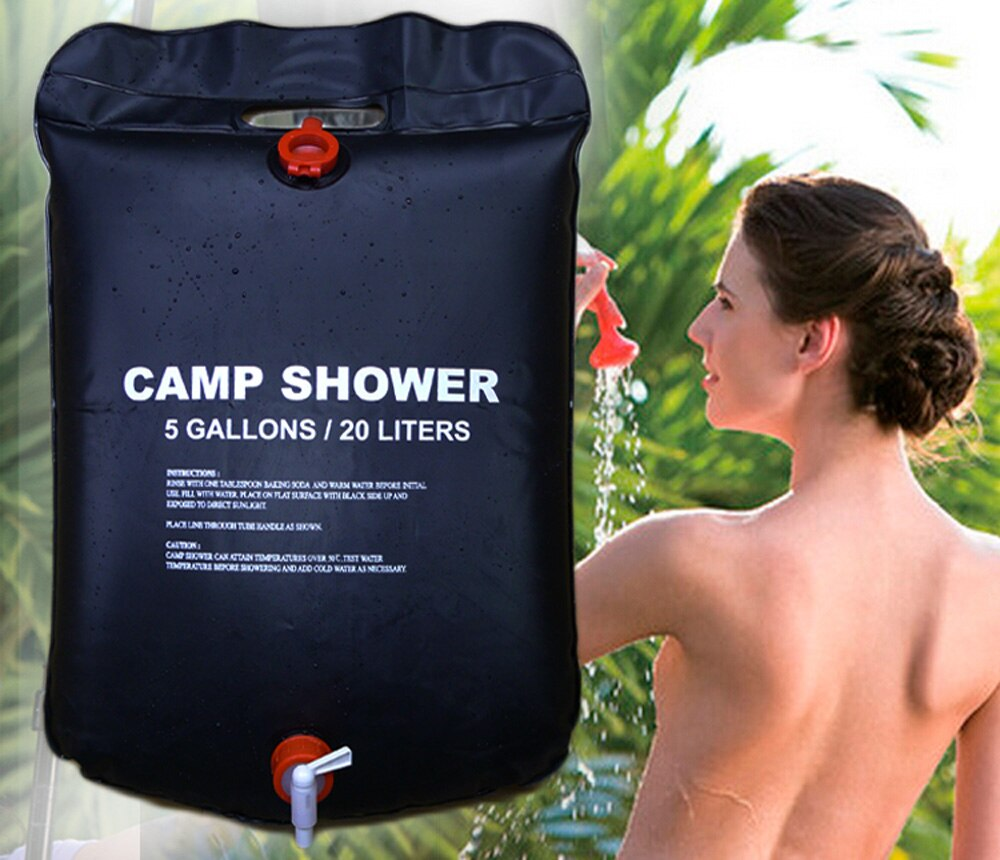 Al aire libre senderismo Camping calentador Solar ducha bolsa de baño ducha bolsa de agua portátil 20L 5 galones ducha viaje Kits tienda accesorios