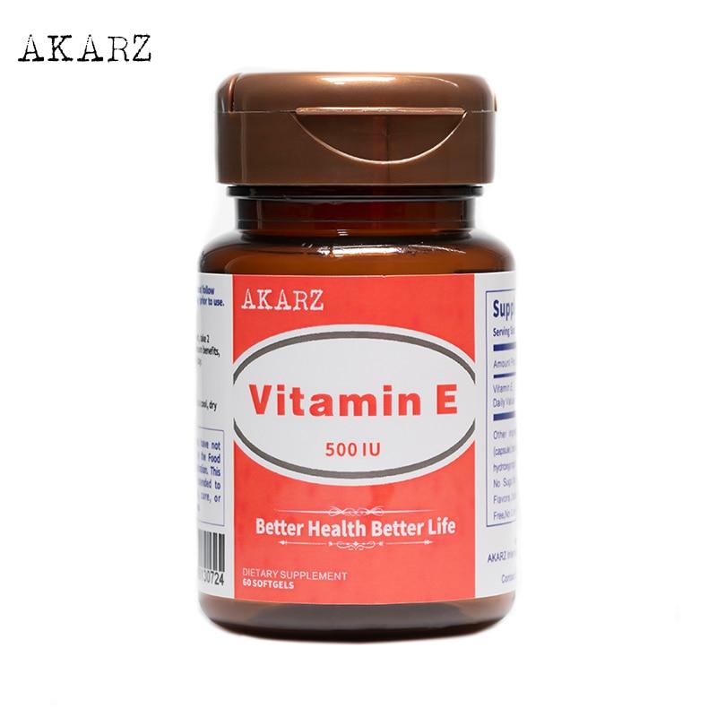 Витамин Е AKARZ, мощный антиокислитель, защищенный от старения, от отбеливания, 500IU