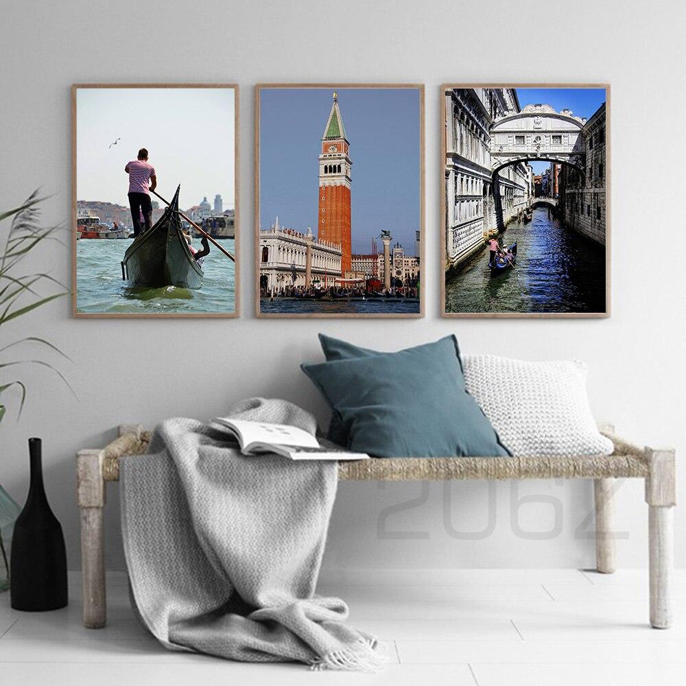 Piazza San Marco Venecia Italia góndola puente cuadro sobre lienzo para pared nórdico pósteres imágenes para pared para decoración para sala de estar