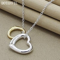 doteffil 925 sterling silver gold double heart pendant necklace 18 inch chain for women wedding engagement fashion charm jewelry