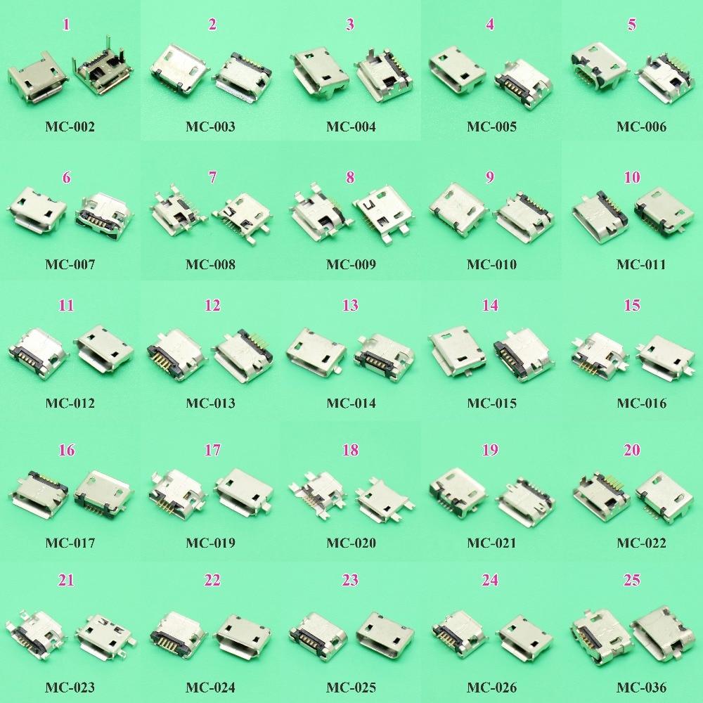 ChengHaoRan 25 modelos 25 unids/lote Micro USB Jack 5P 5pin toma de carga tipo USB conector SMD DIP V8 puerto de carga enchufe de alimentación de datos