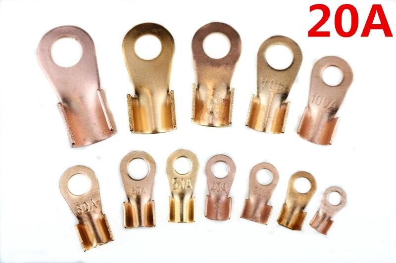 50 unids/lote 20A conector de Cable anillo de 6,2mm para M6 conector de batería de cobre abierto Cable Lugs OT-20A