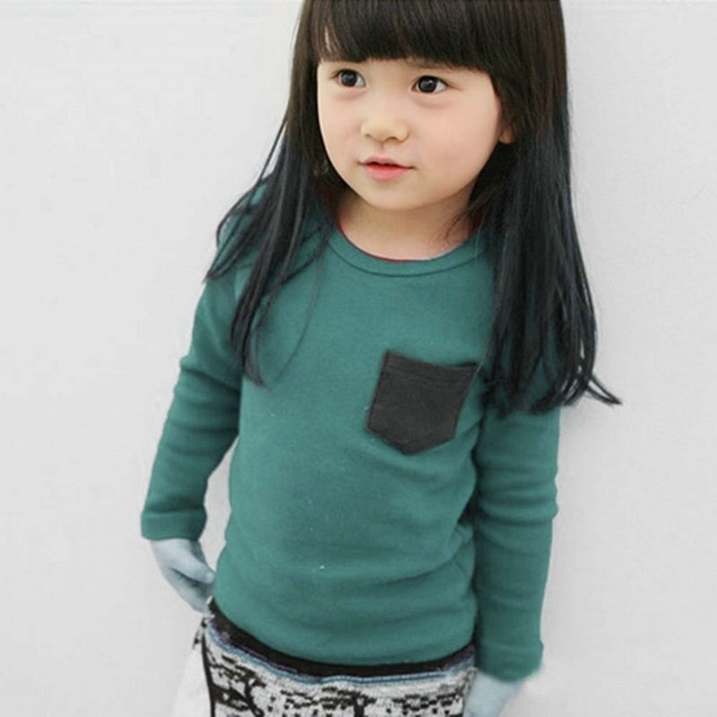 Moda Otoño niño pequeño bebé manga larga cuello redondo Cool camiseta Tees bolsillo Deco niños niñas Camisa de algodón Top ropa