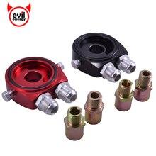 evil energy Universal Racing Sport JDM Aluminum Oil Gauge Filter Cooler Sandwich Plate Adapter Kit