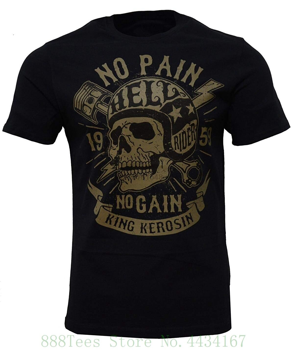 Rei kerosin nenhuma dor nenhum ganho regular t camisa preto impresso t camisa 2018 marca de moda