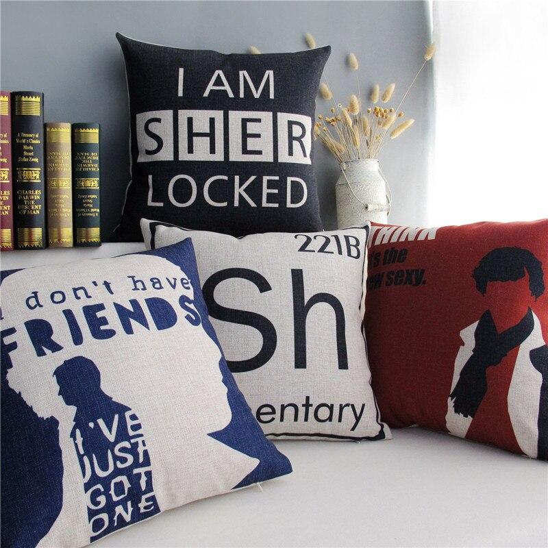 Шерлок Холмс ДЕТЕКТИВНАЯ декоративная наволочка для подушки черный чехол для подушки с буквенным принтом домашний декор льняная хлопковая наволочка для подушки