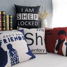 Sherlock Holmes-housse de coussin décorative   Housse de coussin en coton et lin, avec lettres noires imprimées, décoration de maison