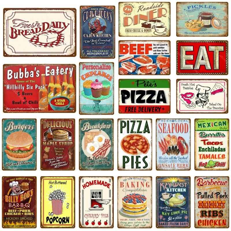Carteles de metal de comida rápida mexicana para mariscos frescos, placa Vintage, cartel de pared para pan de ternera, Pizza, decoración para el desayuno, cena, cocina casera