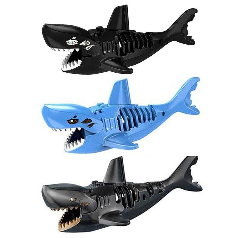 Bloques de construcción de tiburón en 3D, juguetes montados, fantasma, zombi, tiburón, Jack Sparrow, Piratas del Caribe, Hulk, juguetes Legoings para niños