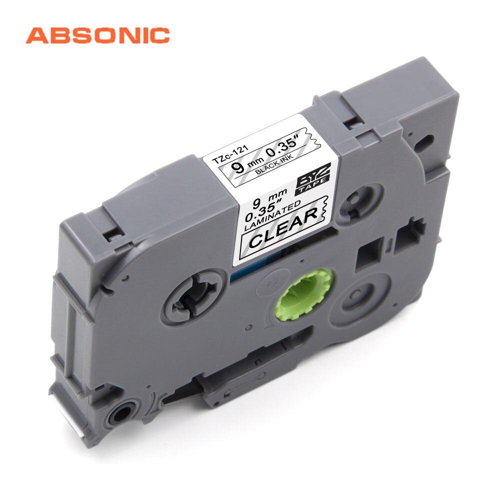 Absonic 9mm cinta para sustituir casetes TZ121 TZ-121 TZe-121 TZe121 fabricante de etiquetas Compatible para Brother P-Touch PTD600 PTD400AD PT-D210