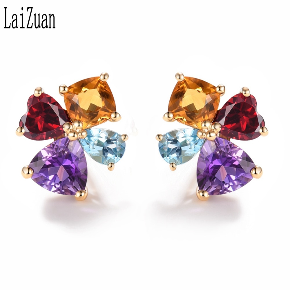 LaiZuan 2.2ct Genuine Natural Citrine, Garnet,sky Topaz blue,Amethyst Solid 14K Yellow Gold Stud Earrings Elegant Jewelry Gift