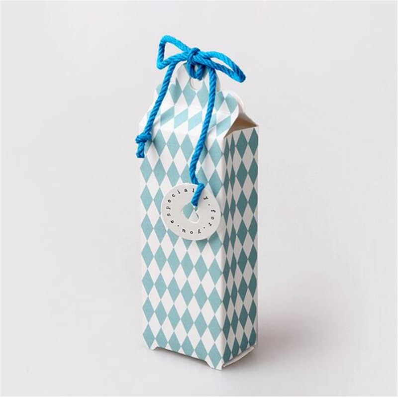 10pcs/lot Fresh Blue Prismatic Rectangular Hand Jewelry Carton Universal Square Socks Gift Box Wedding Party Favor Candy Box
