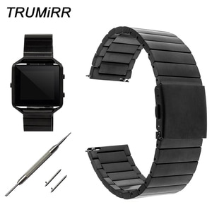 23mm Quick Release Watchband for Fitbit Blaze Smart Fitness Watch Band Stainless Steel Strap Bracelet Black Rose Gold Silver